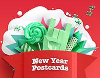 Hand Drawn New Year Postcards