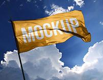 Fabric Wide Flag Mockup