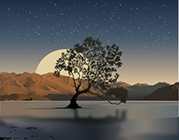 Illustration of a tree on a lake made with gradients