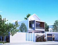 Thiết kế nhà phố hiện đại đẹp 2 tầng mặt tiền 8m