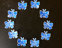 Linocut stickers Blue Butterfly