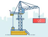 Tower Crane Line Art