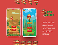 """2D game 'Jump Master"""" design with assets and Ui/Ux"""