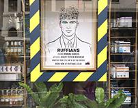 Ruffians Barbers X Liberty London Window Illustration