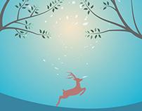 Enjoying Deer Illustration