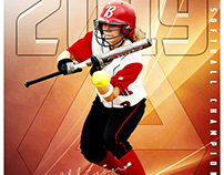 Softball sports photoshop template