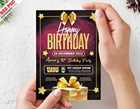 Happy Golden Birthday Invitation Card PSD