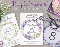 Watercolor clip art set: 'Purple Passion'