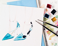 Material world. Watercolor. Fashion Accessories