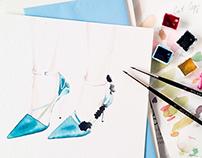 Material world. Watercolor. Fashion Accessories