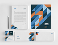 Blue & Orange Pattern Stationery