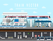 Flat design set of Train, Sky Train, Subway.