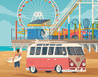 Santa Monica USA Retro Travel Poster City Illustration
