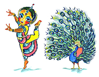 Dancer with peacock