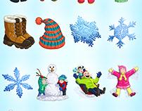 Mahjong Tiles - Winter Theme