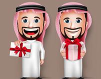 Saudi Arab and Businessman Characters in Vector