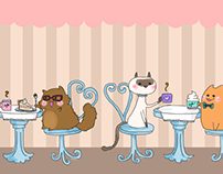 Cat Cafe Illustration