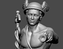 Mercury antique god. Digital sculpture