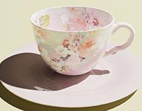 3-D Tea Cup & Saucer