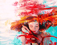 Red hair in water by Vera Vervain