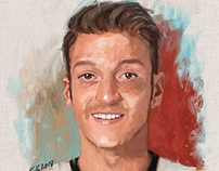 portrait painting of football player Mesut Ozil