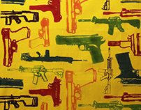 Gun Pattern Silkscreened Fabrics