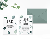 Green Leaves Wedding Invitation Suite