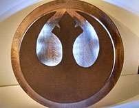 Rebel Alliance logo wood work