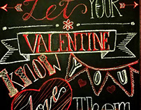 Valentines Day chalk art ad for Amy's Ice Creams.