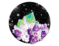 Quartz and Minerals: Amethyst and Fluorite