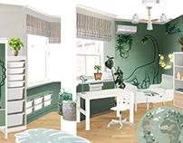 Dino for Dima / Дизайн-проект детской комнаты/коллаж