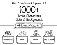 1000 Hand Drawn Icons & Paper cuts