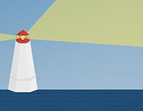 Roald Dahl quote with lighthouse illustration