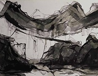 Mountanis. ink painting