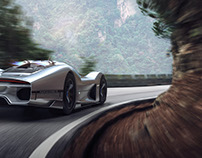 Porsche 908-04 Vision GT and fivesphere in the mountain