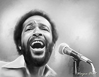 Marvin Gaye Digital Painting by Wayne Flint
