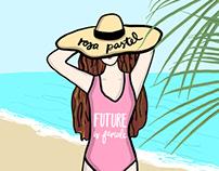 Rosa pastel swimmer