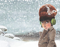 Girl with a Red Panda Hat Too