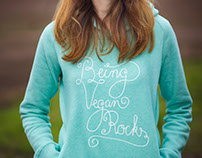 "Lettering ""Being vegan rocks"""