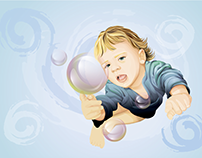 Flying baby in soap bubbles