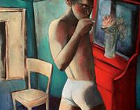 interior with smoking nude