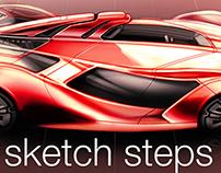 Digital Render Sketch Steps