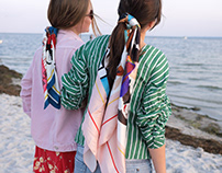 Silk illustrated scarfs/ shooting