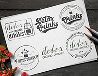 Collection of Six Detox Drinks Badges.