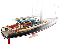 Technical illustration of a high end yacht.