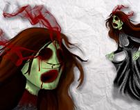 Concepto videojuego de horror con aspecto infantil.
