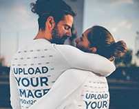 Back Shot of a Couple Wearing Crewneck Sweaters Mockup