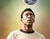 Pelé Digital Oil Painting by Wayne Flint