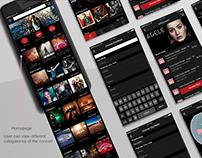 Application design/ concert ticket app/ UI design