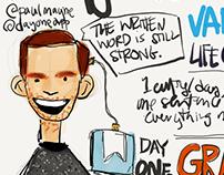 Sketchnotes from Paul Mayne talking at Underbelly.
